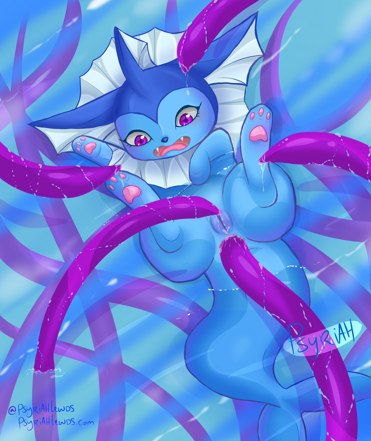 Furry Hentai Art of Vaporeon getting fucked by tentacles